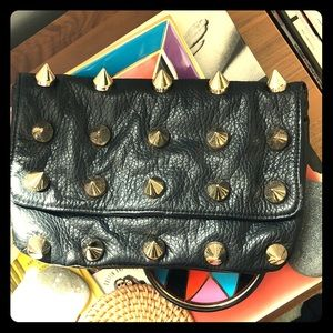 Black leather Punk Spike Studded Clutch